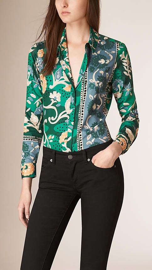 6c56f3d31 Verde azulado Camisa de seda e algodão com estampa floral xilogravada -  Imagem 1