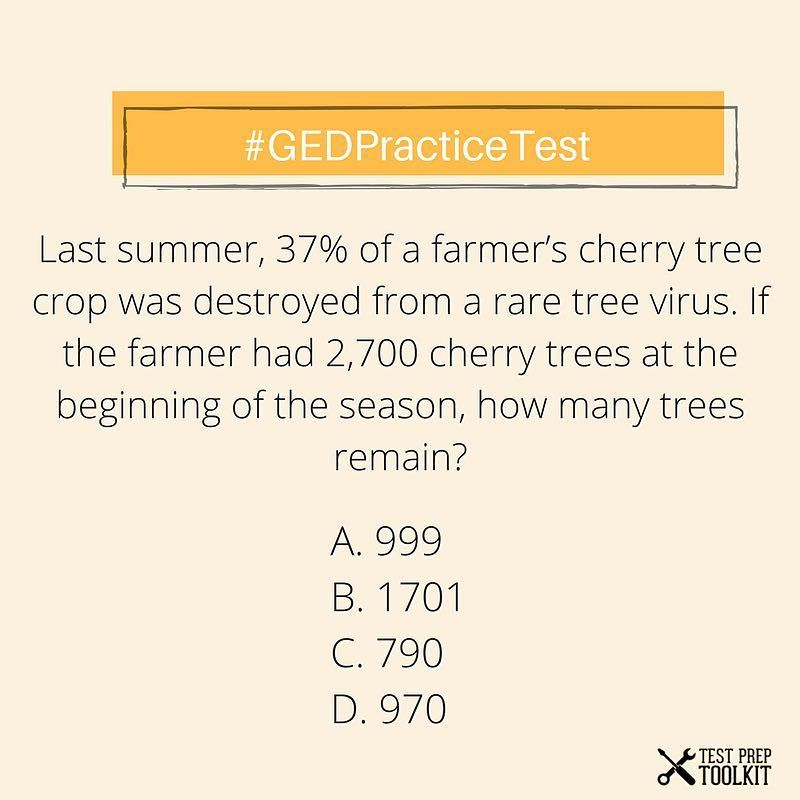 Math Practice Test! Comment your answer below! We have GED resources ...