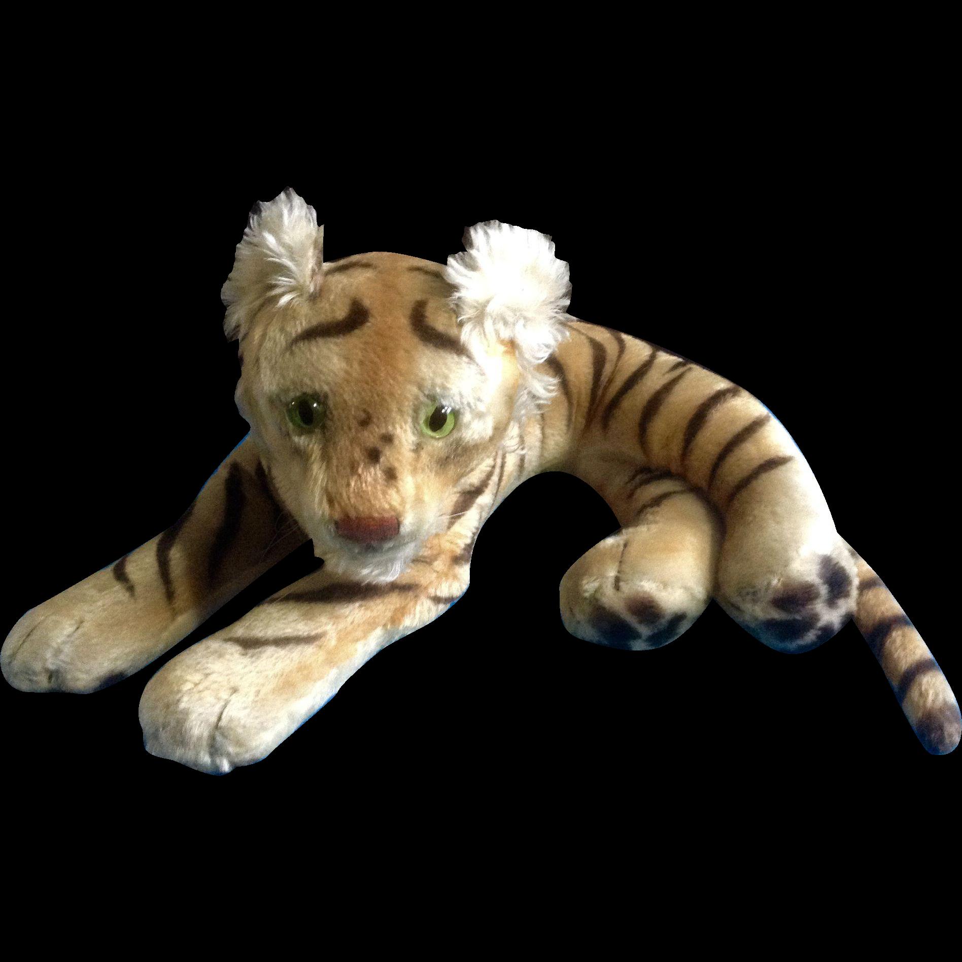 Vintage Steiff Bengal Tiger 1952 1953 Large Stuffed Plush Animal Green Glass Eyes Mohair Germany 23 Plush Animals Animals Steiff [ 1896 x 1896 Pixel ]