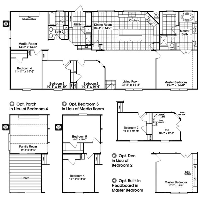 4 Bedroom Manufactured Homes: The Homerun HRT472A6 Home Floor Plan