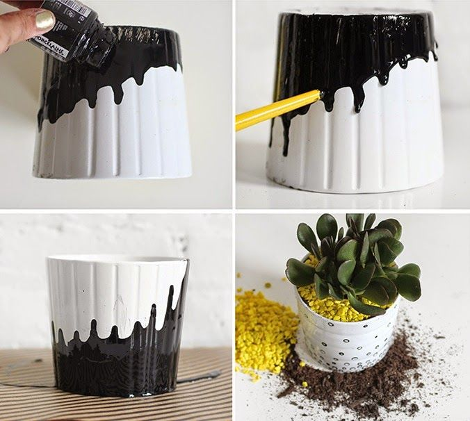 diy les cache pots ikea passent au noir et blanc diy pinterest. Black Bedroom Furniture Sets. Home Design Ideas