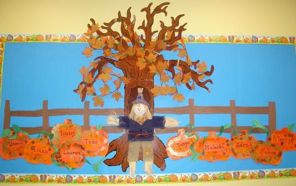 Falling Into Fall - Pumpkins & Fall Leaves Bulletin Board Idea #pumpkinpatchbulletinboard