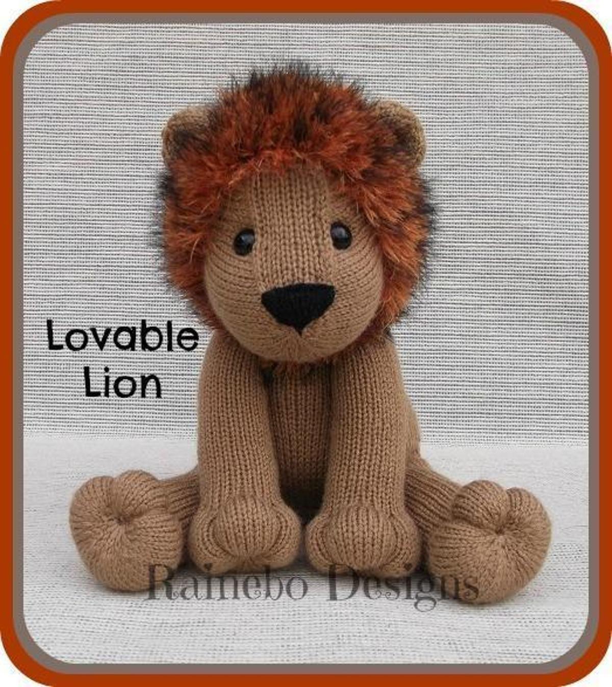 Knit Lovable Lion | Craftsy | Stuffed toys patterns, Lion ...
