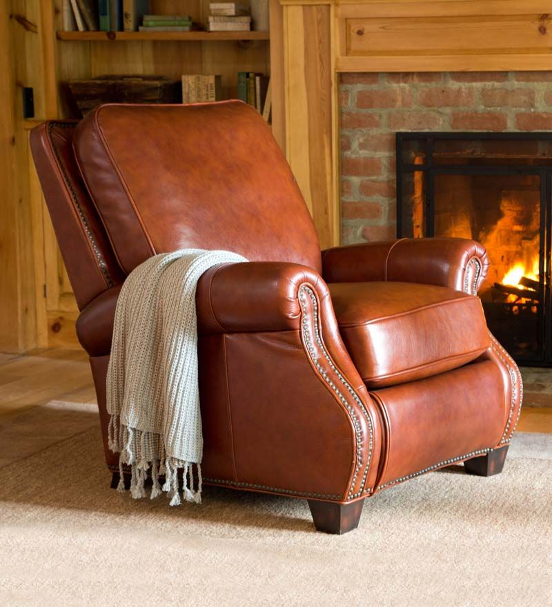 Chestnut Leather Push-Back Recliner offers support and style. Push back to recline in comfort - a gorgeous chair and a great place to relax!