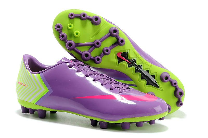 Nike Mercurial Vapor X AG Mens Soccer Cleats - Orchid Purple Deep Pink Green  Yellow
