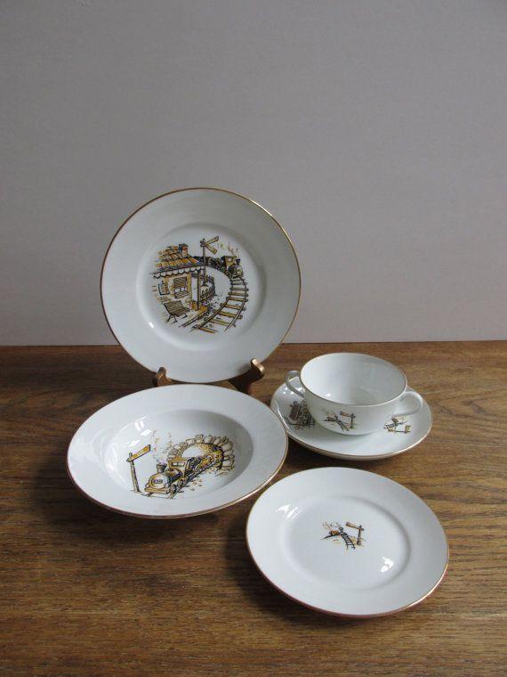 Vintage Richard Ginori Porcelain Children\u0027s Dinnerware Set - 5 pieces   white porcelain black and & Vintage Richard Ginori Porcelain Children\u0027s Dinnerware Set - 5 ...