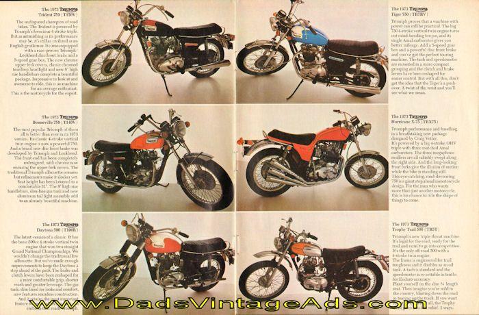 1973 Triumph Motorcycle Photos & Descriptions 2-Page Ad ...