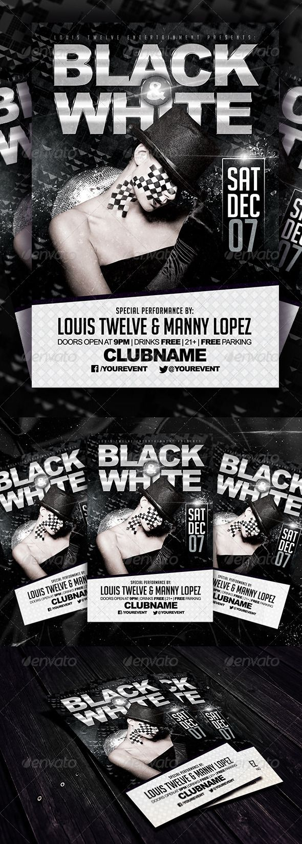 Black and White Party Flyer Template – Black and White Flyer Template