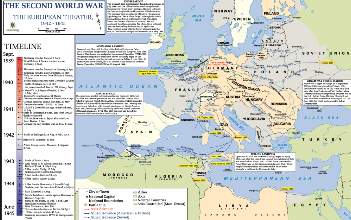 This Map Indicates The Locations Of The Allied Powers And Axis Forces As Well As Neutral