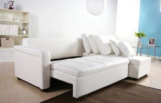 Modern White Leather Sectional Sleeper Sofa