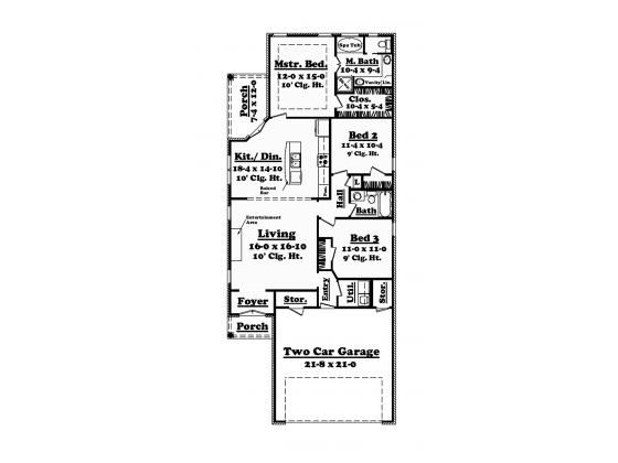 European Style House Plan 3 Beds 2 Baths 1400 Sq Ft Plan 430 50 Floor Plan Design House Plans Narrow Lot House Plans