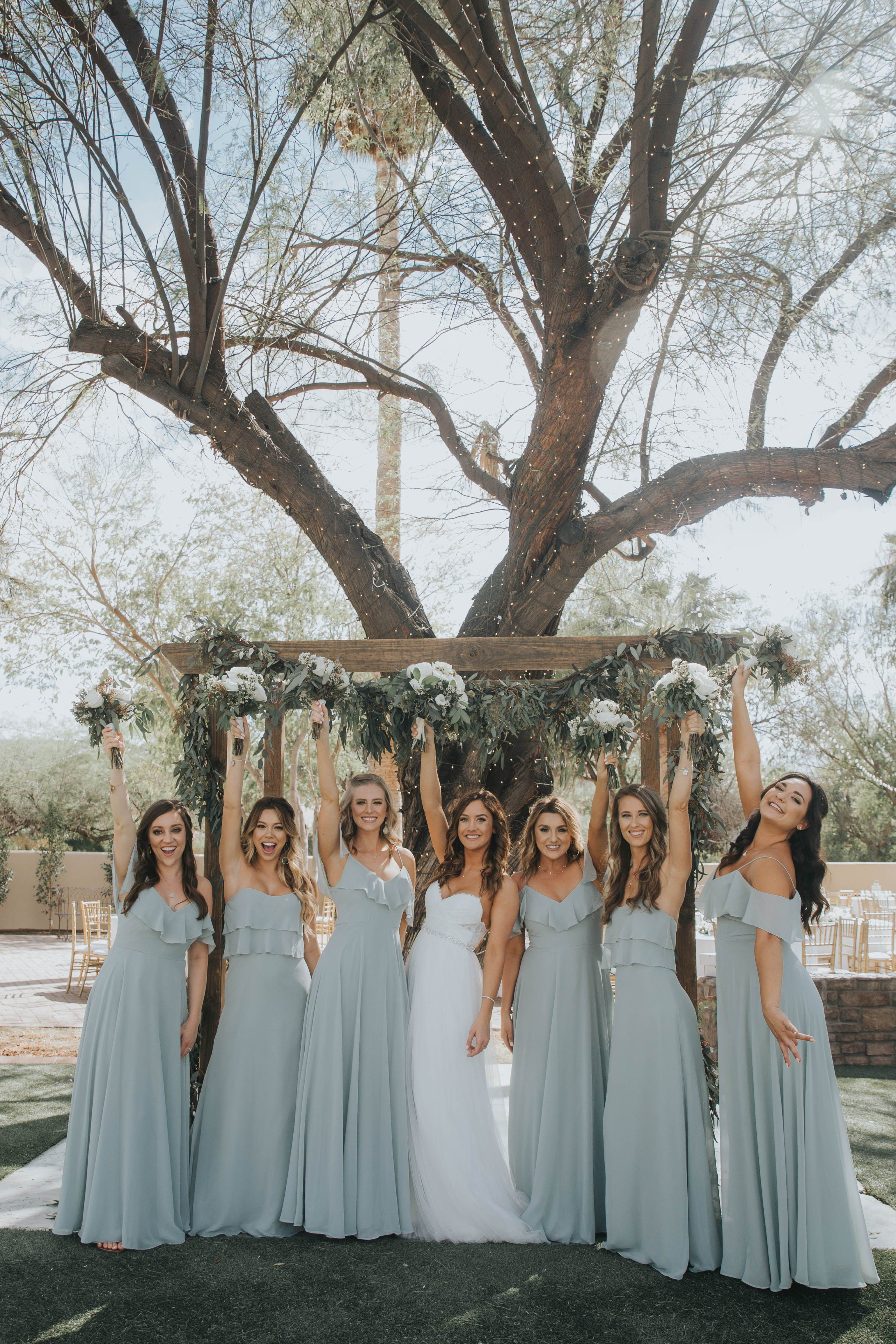 Jenny Yoo Bridesmaids Various Mix N Match Long Luxe Chiffon Styles In A Country Bridesmaid Dresses Bridesmaid Dresses Long Blue Light Blue Bridesmaid Dresses [ 4618 x 3079 Pixel ]