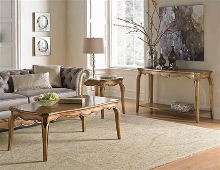 Chambord Modern Champagne Gold Wood Coffee Table Set Coffee