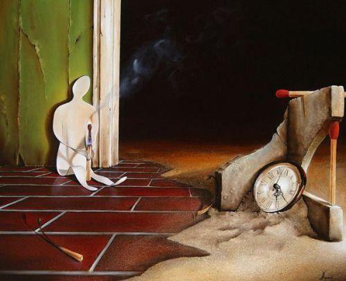 """monolitodesangue: """" 'Relógio das eras' O tempo queima devagar O fogo arde, sentimos arder rápido Mas o calor é o mínimo que sentimos O que dói é a lentidão do compasso O tédio queima frio Um gelo a..."""