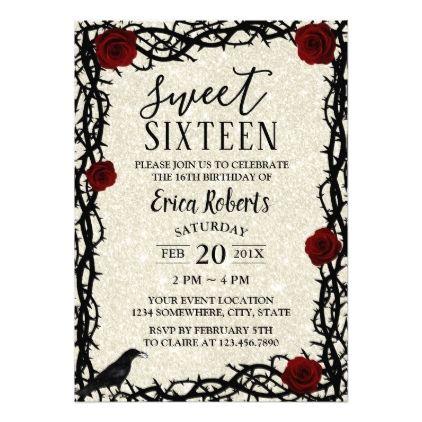 Sweet 16 fairytale red rose thorn modern glitter card modern sweet 16 fairytale red rose thorn modern glitter card modern gifts cyo gift ideas negle Images