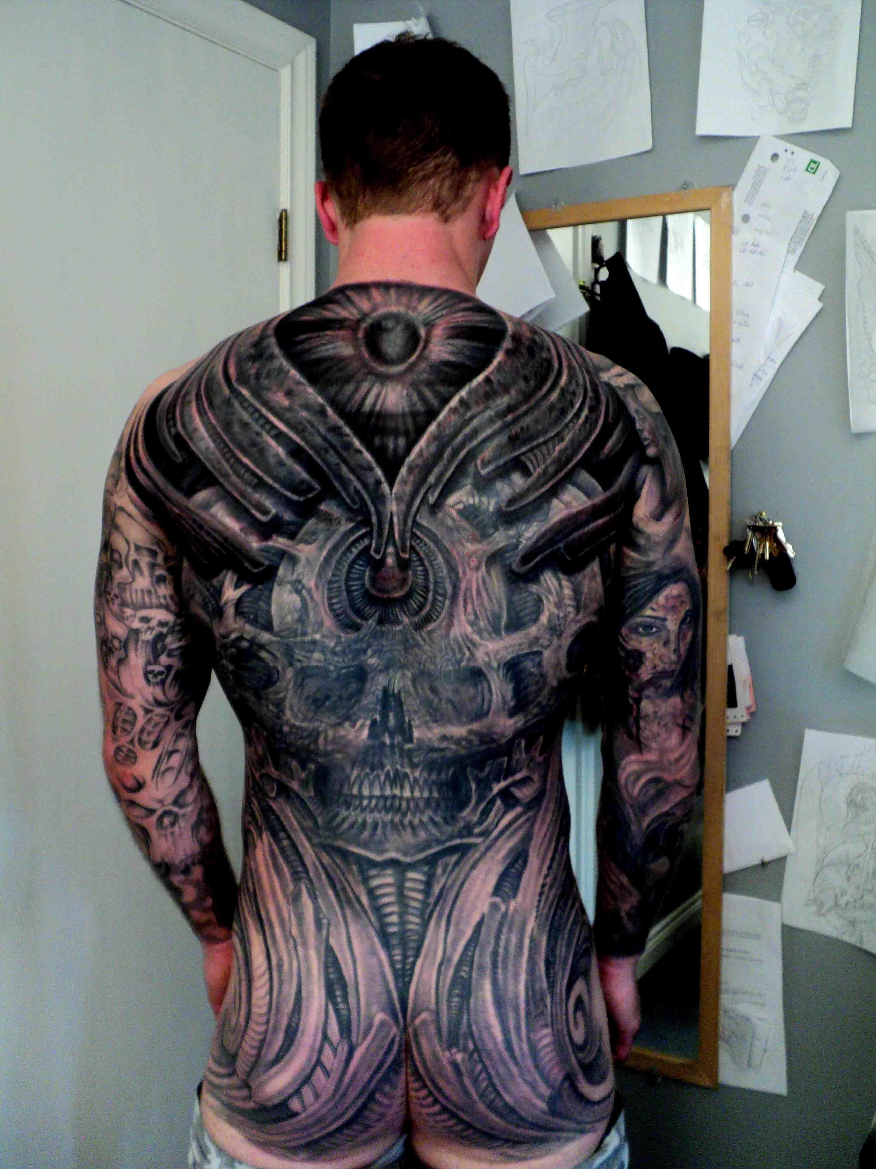 Tattoo gear tattoo sleeve mechanic tattoo mechanical tattoo gears - Biomechanical Back Tattoo By Bruce Cove
