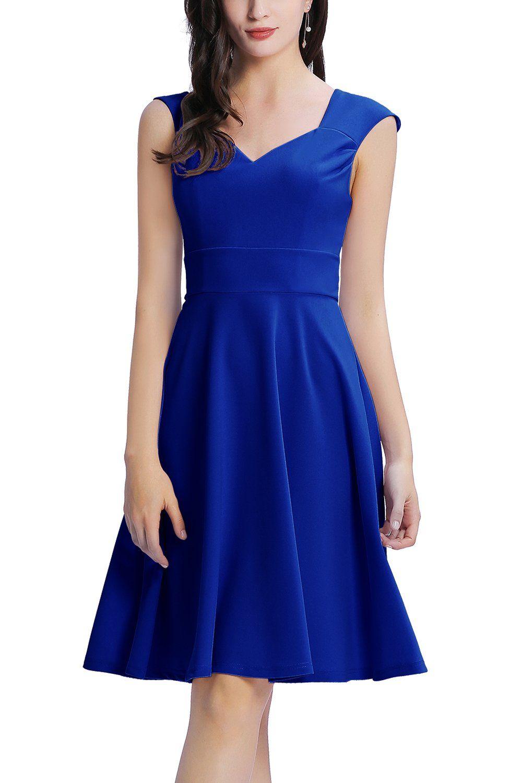 Zapaka Schlicht Kurz Armellos Konigsblau Kreppkleid Abendkleid Zapaka De Kleider Konigsblaues Kleid Cocktailkleid