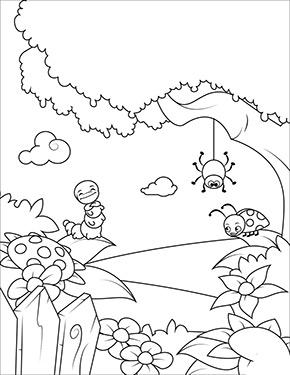 Ausmalbild Fruhlling Marienkafer Und Raupe Ausmalbilder Fruhling Ausmalbilder Malvorlagen Blumen