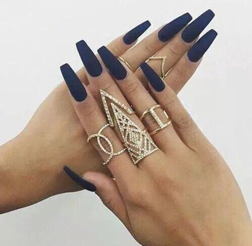 Gold & Diamond Rinds with navy blue fingernails | Rings | Pinterest ...