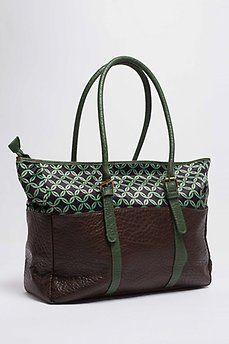 b3209c11751 Bolso shopper tela estampada verde