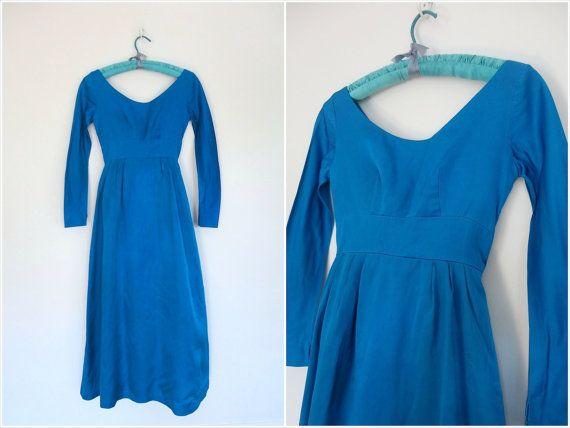 1960s Dress / Blue Taffeta / Maxi Dress / Vintage Long Formal Gown / Size Extra Small XS 0 2 #60s #fashion #blue