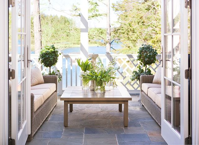 outdoor lounge + lakeside views | Linda McDougald Design | Postcard from Paris Home
