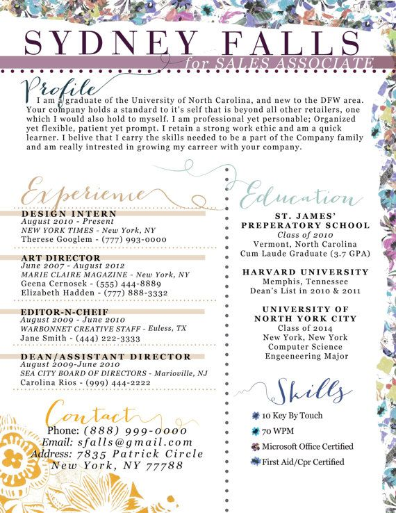 Unique floral resume by ambersoup on Etsy, $3000 Creative CV and