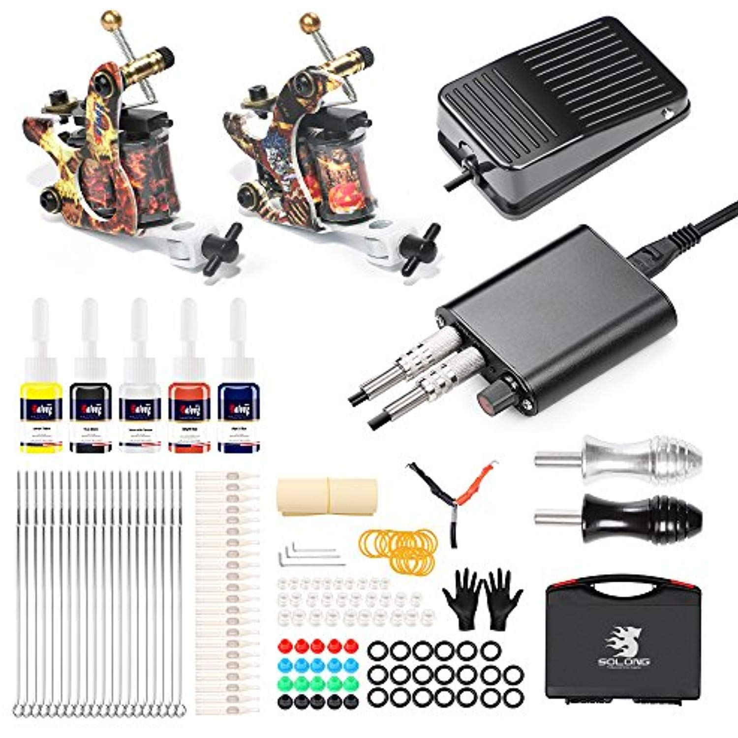 Solong Complete Tattoo Kit Professional 2 Pro Coil Tattoo Machine Starter Tattoo Kit 5 Tattoo Inks Power Su With Images Tattoo Kits Professional Tattoo Kits Tattoo Machine