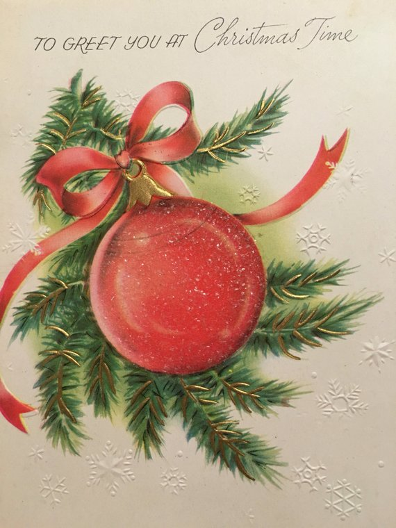 Vintage Christmas Card, Unused, NOS, Glitter, 1950s Products