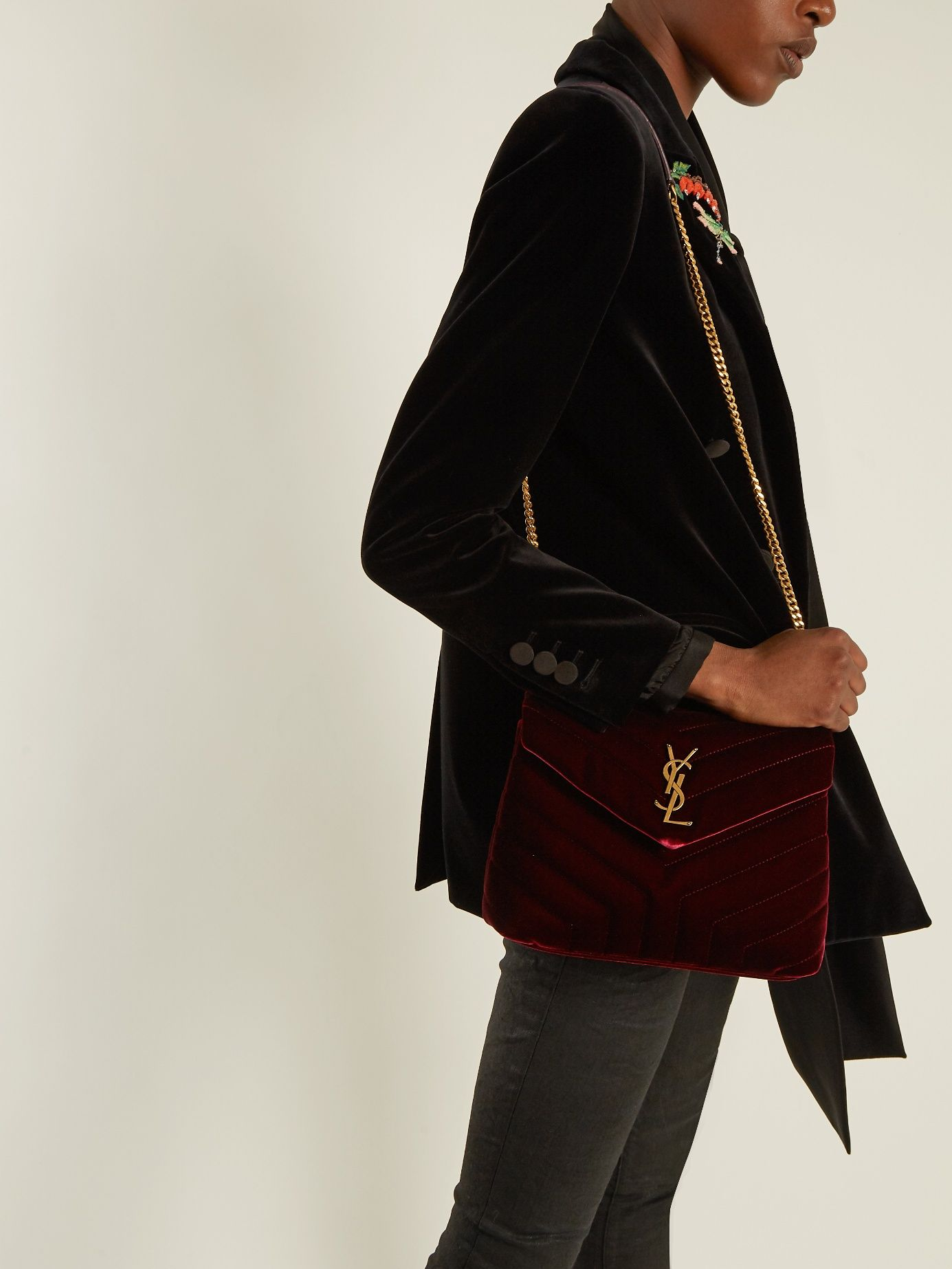 3ed3a6beddfb1 Click here to buy Saint Laurent Loulou velvet shoulder bag at  MATCHESFASHION.COM