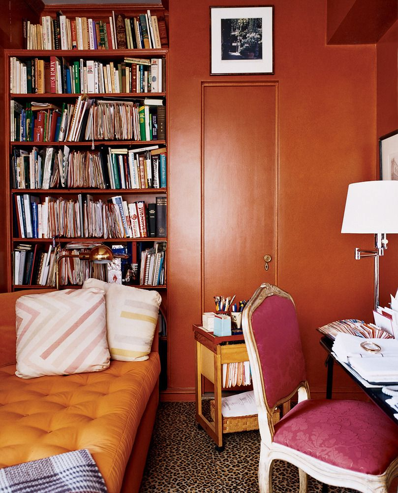 Orange walls in the study. why we love built-in bookshelves on ...