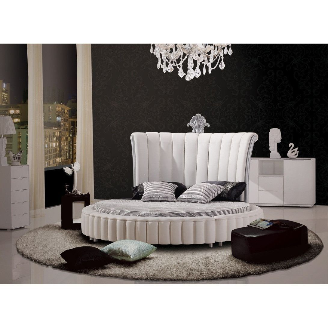 modrest c645 modern white bonded leather round bed rh pinterest com