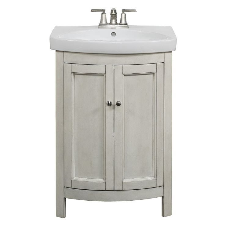 allen + roth Moravia Antique White Integral Bathroom Vanity with Vitreous  China Top 24-in - Allen + Roth Moravia Antique White Integral Bathroom Vanity With