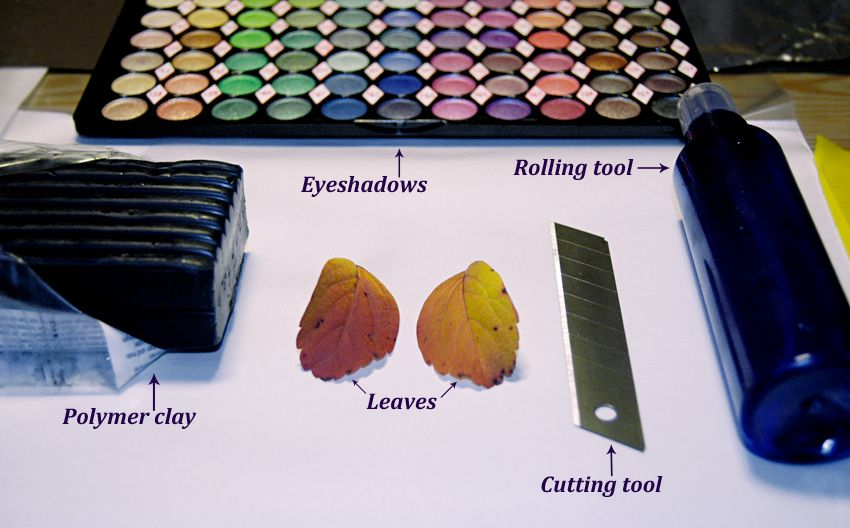 Leaf earring using clay & metallic eyeshadow