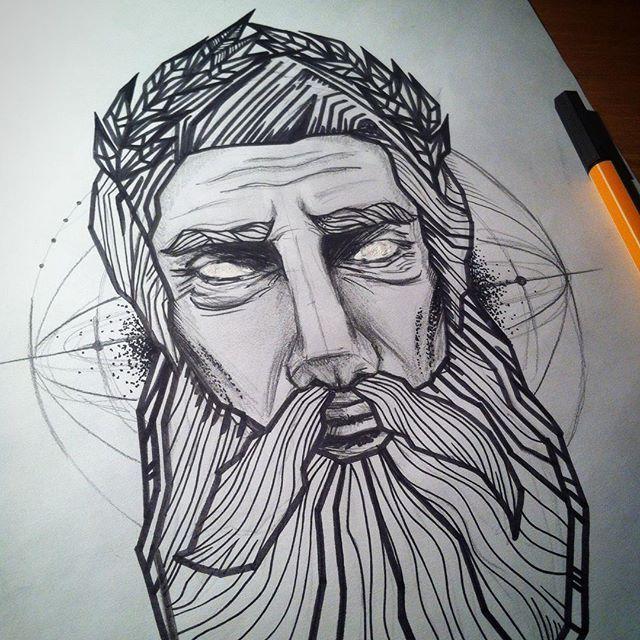 Line Drawing Of Zeus : Neptun sketch draw drawing mik rajz doodle