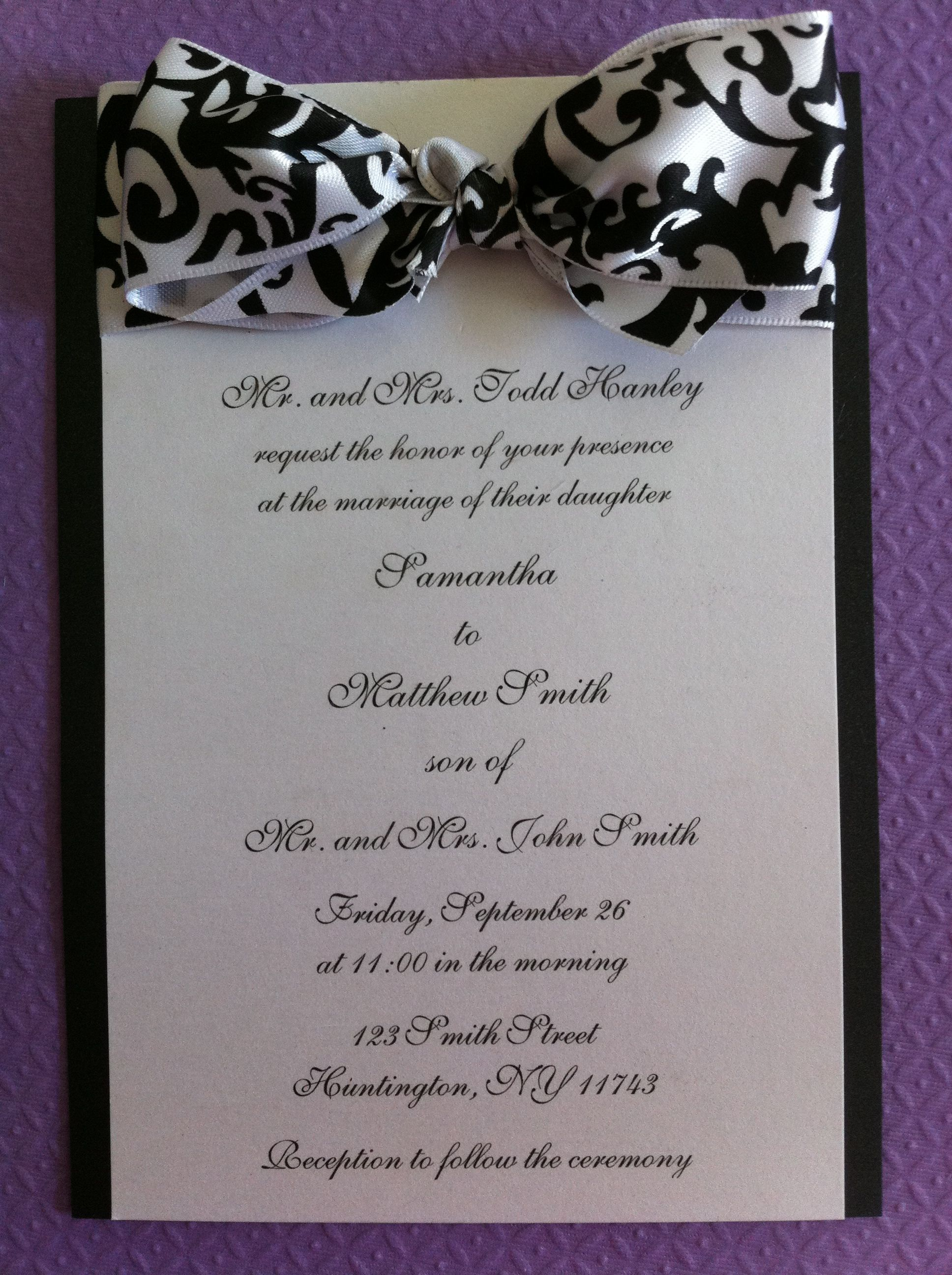 A Fun Formal Invite To Match A Formal Black And White Affair