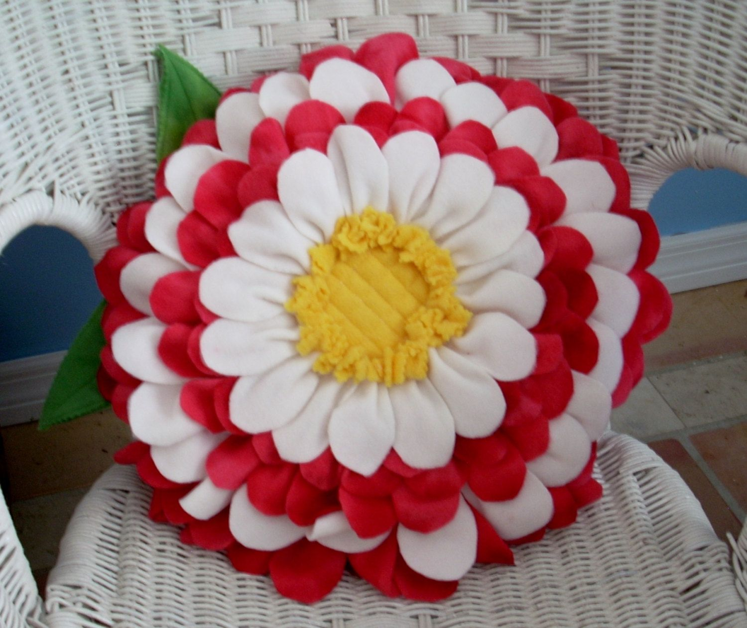 Candy apple red and white fleece flower pillow by Fleeceofnature, $35.00