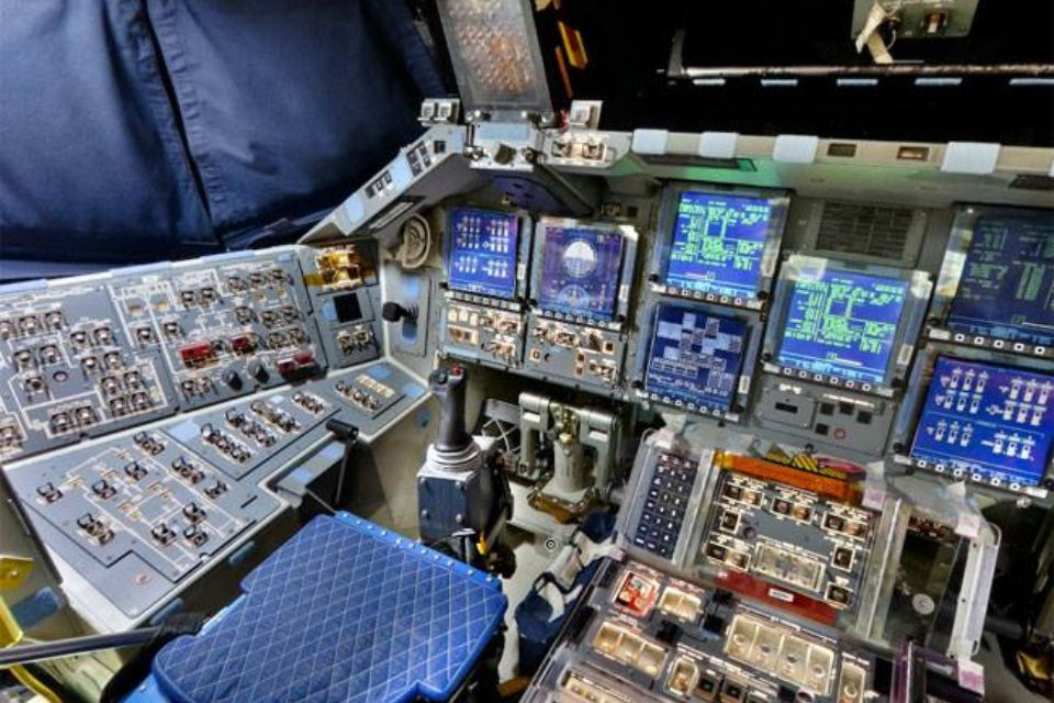 Pilot's Seat on the shuttle Discovery.  39 mission flights from 1984-2011.   PS- this is what the inside of my head looks like too...