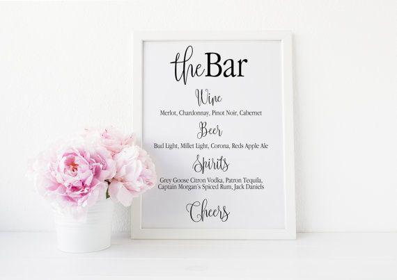 Bar Menu Sign Wedding Printable Custom Template