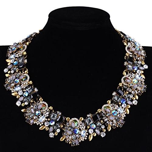 Vintage Gold Chain Crystal Glass Charm Choker Chunky Statement Big Bib Necklace