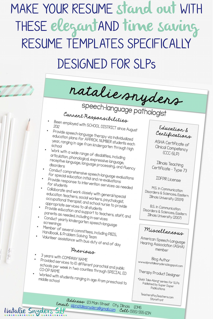 Resume Templates For Slps And Teachers Speech Therapy Activities Teacher Resume Speech And Language