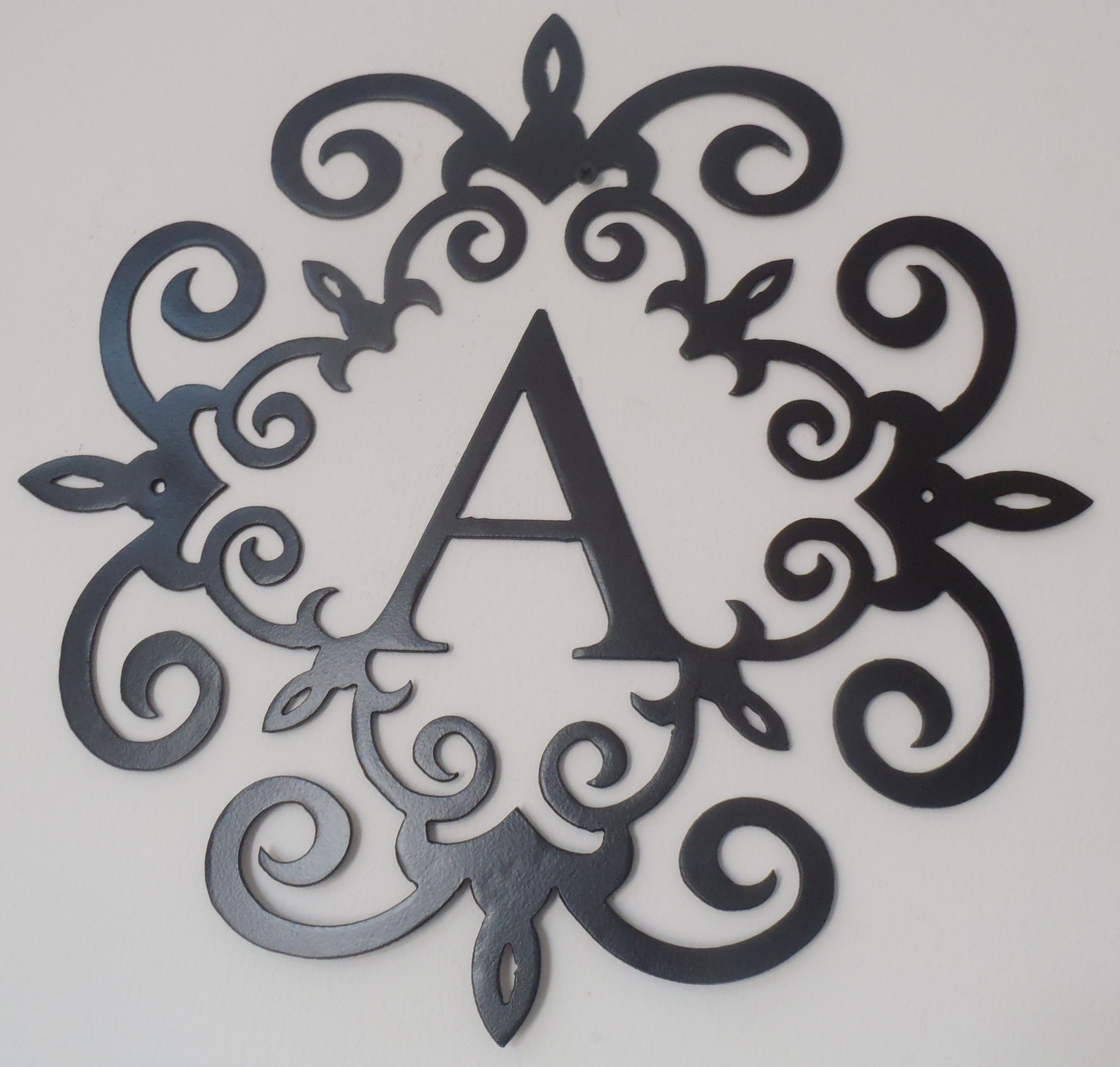 Metal art decor, wall art from ajd designs inc. Family initial, Monogram inside a Metal Scroll with A ...