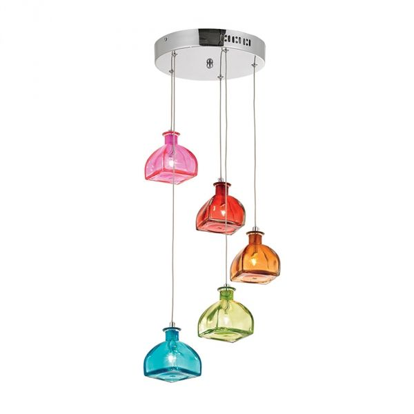5 light chrome ceiling pendant with colorful glass shades.