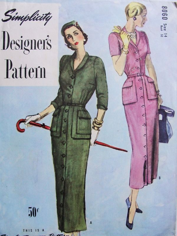 1940s Classy Slim Coat Dress Pattern Front Button With Shawl Collar ...