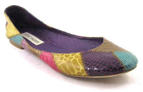 d5a16b6f722 Steve Madden Kobraa Flats Skimmer Patchwork Snakeskin Pink Purple Yellow 8  5