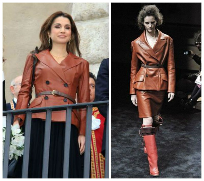 Queen Rania wears a leather jacket by Prada