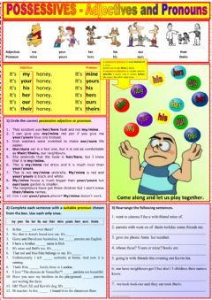 Possessives Adjectives And Pronouns Language English Grade Level Intermediate School Subject English As Pronomes Atividades Pronomes Atividades Adjetivos
