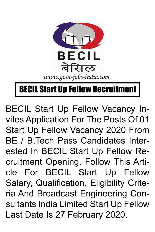BECIL Start Up Fellow Recruitment 2020 Start Up Fellow
