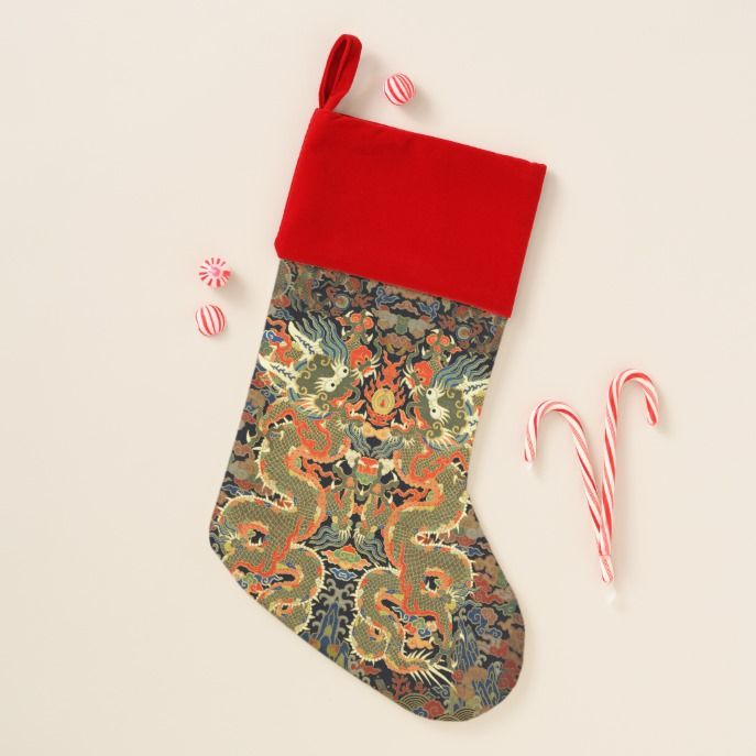 249fec96ec9 chinese asian dragon colorful embroidery creature christmas stocking   stocking  christmas  sock  xmas