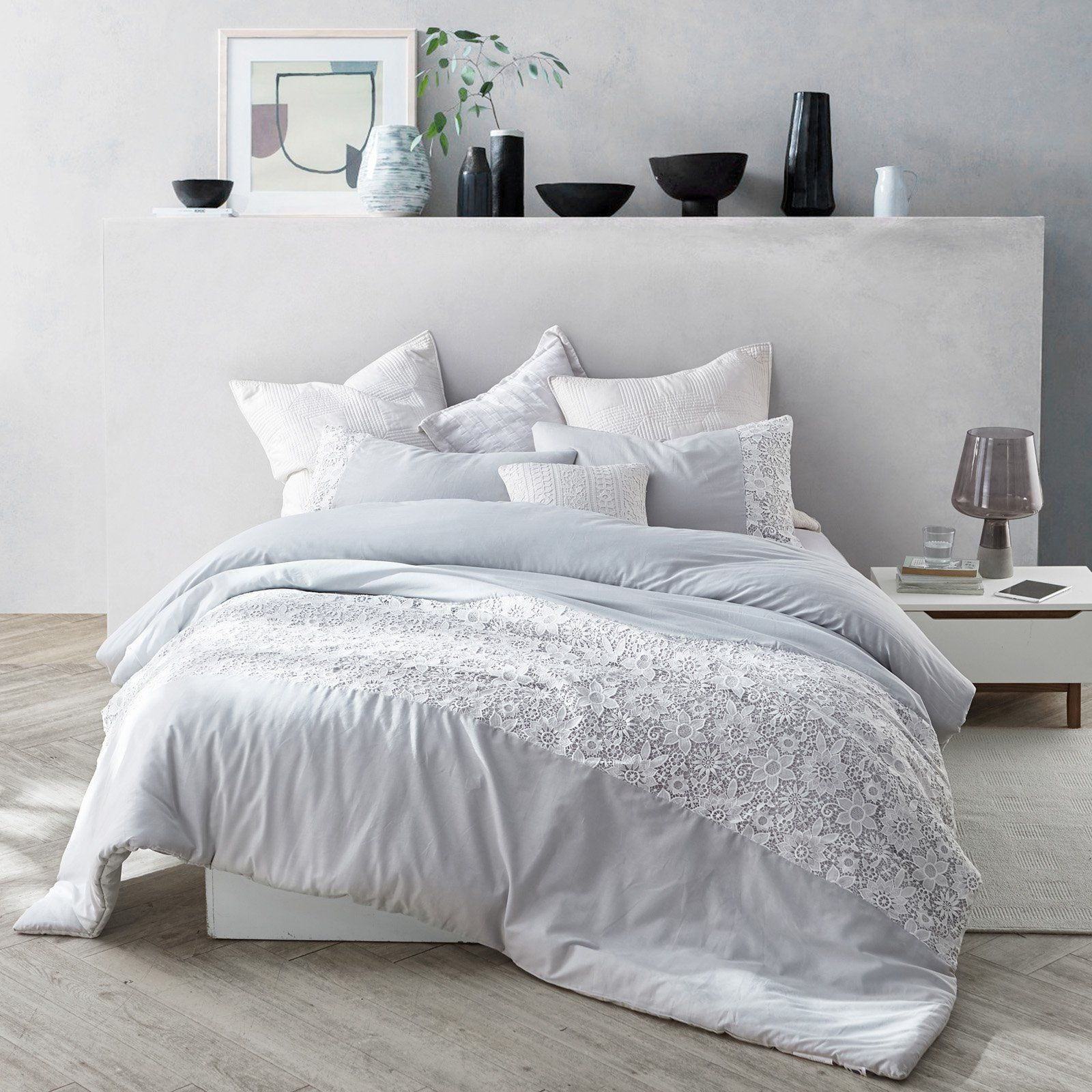 Photo of White Lace Duvet Cover by Byourbed Rose Quartz, Size: King